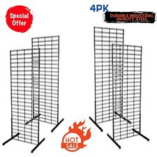 Small Business Black Wire Grid Wall Display Floorstanding 4 Pack Clothing Rack