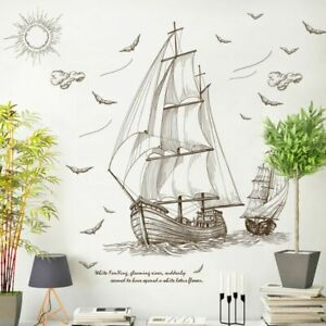 Old Sailboat Voyage Seabirds Sea Landscape Large Wall Stickers Home Decor