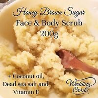 Organic Homemade Honey Sugar Body Face Scrub Coconut Vitamin E moisturising 200g