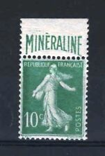 "FRANCE N° 188 A "" SEMEUSE 10c  BANDE PUBLICITAIRE  MINERALINE "" NEUF xx TTB R398"