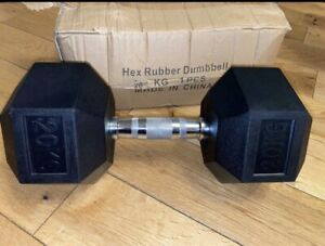 2x 20kg HEX DUMBBELL Commercial Gym Rubber Pro Weights BOXED UK NEW Pair Dumbell