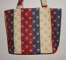 Handmade 4th of July Patriotic Red White & Blue Stars Tote Bag Purse