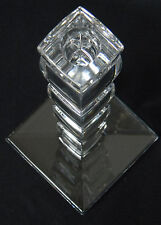 MODERN CONTEMPORARY 24% LEAD CRYSTAL GLASS CANDLE STICK HOLDER W/ LABEL SLOVENIA