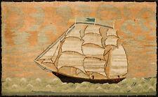 Folk Art Framed sailor's wool work of Schooner