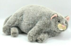"Fat Cat Plush 14"" Dakin Applause Duchess Kitty Chubby Gray Laying down #24647"