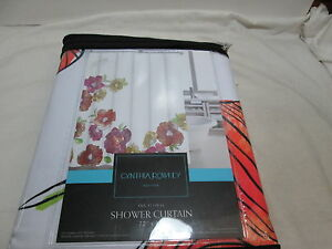 New Cynthia Rowley INK FLORAL Shower Curtain ~ Orange, Pink, Yellow Flowers NIP