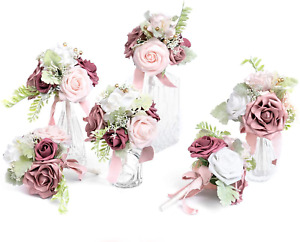 Ling's moment Fall Wedding Flowers Set of 6 Pre-Made Mini Floral Wedding Small
