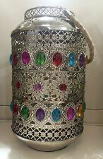 Silver Ornate Vibrant Jewelled Morrocan Lantern Metal Pillar Candle Holder NEW