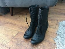 Ladies black leather Victorian lAce up boots Clarks 7