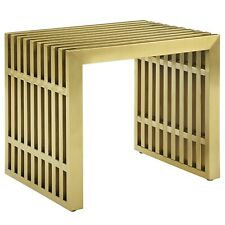 Modway Gridiron Small Stainless Steel Bench - Gold
