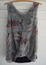 Just Jeans Women's Sheer Print Singlet Top with Black Fabric Backing - Size 8