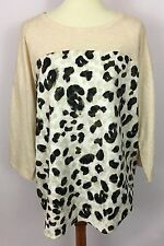 Style & Co Ivory Beige Leopard Animal Print Casual Long Sleeve Top Shirt Size XL