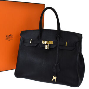 AUTHENTIC HERMES BIRKIN 35 HAND BAG CHEVRE LEATHER BLACK GOLD □D 230LB196
