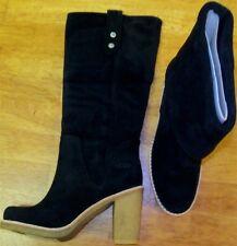UGG Tall Heel Boots Black 6 Suede Sheepskin Josie Misses size 6M Mint