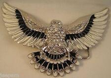 aigle américain Chrome Noir Emaillé Blanc Bling Strass Boucle ceinture Fix sa