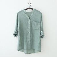 Summer Womens Loose Linen Tops Short Sleeve T Shirt Blouse Ladies Beach Top S-XL