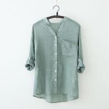 Summer Womens Loose Linen Tops Short Sleeve T Shirt Blouse Ladies Beach Top