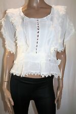 HUSSY Brand Ivory 'Lysander' Short Sleeve Lace Trim Blouse Top Size 6 BNWT #TR39