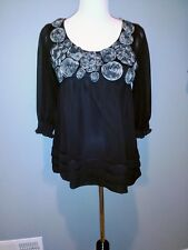 *NWT*ECI New York Black Sheer Lined Embellished 3/4 Sleeve Top Sz:4 Tag: $59.00