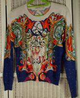 "MARY KATRANTZOU Digital Print Top Fine Cotton Knit M 37"" Bust Colourful Graffiti"