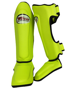 Twins SGS10 Double Padded Shin Guards Lime Green Pads Muay Thai Kickboxing MMA