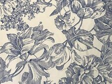 EUC! Waverly Garden Room FULL FLAT Sheet Blue 'Garden Toile' Lapis Floral Ruffle