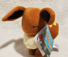 """Pokemon Plush EEVEE Eyes Closed 7.5"""" Tall TOMY Authentic Stuffed Soft Toy"""