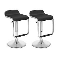 Vinyl Height Adjustable Bar stool in Black - set of 2