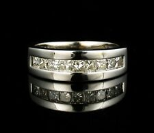 PRINCESS CUT NATURAL 1.50ctw DIAMOND 14K WHITE GOLD WIDE ANNIVERSARY BAND RING