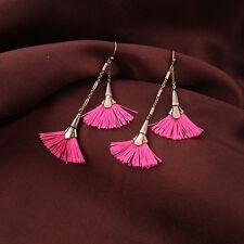 Bohemian Pink Silky Tassel Fringe Bronze Dangle Earrings Drop Yarn Boho
