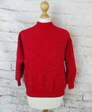 Vintage 80s Rojo vibrante declaración Sparkle Pointelle ala del murciélago suéter S 10