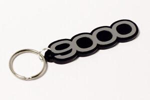 Saab 9000 Keyring - Brushed Chrome Effect Classic Car Keytag / Keyfob