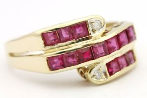 14k yellow gold square red ruby diamond bypass ring size 5.5 3.3g vintage estate