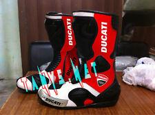 "Motorcycle ""Ducati"" Boots Leather New Classic Mens Biker Ride Zip Side Motorbike"