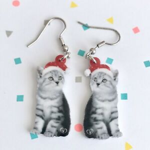 Cute Christmas Cat / Kitten Fun Dangle Earrings /Quirky / Novelty