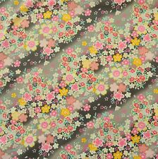 Japanese Cotton Fabric Black Romantic Floral Diagonal By Half Metre 50cm CF103