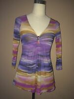 sweet pea by stacy frati Anthropologie Multi Color Stretchy 3/4 Sleeve Top Sz. S