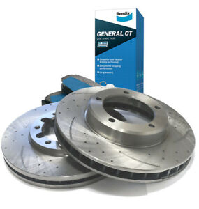 SLOTTED DIMPLED Front 294mm BRAKE ROTORS x 2 Bendix PADS for SUBARU WRX G3 05~13