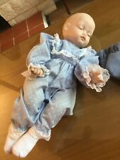 """16"""" Vintage Sleeping Baby Doll Bisque Head, Hands, Cloth Jointed Body"""