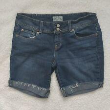 Aeropostale Jeans Sz 7/8 Cuffed Cut Off Shorts Dark Wash