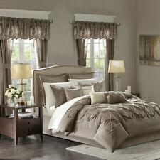 Beautiful 23pc Modern Taupe Brown Ruffle Tufted Comforter & Curtain & Sheet Set