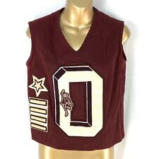 Vintage Cheerleader Uniform Vest Top Wool Letter O Burgundy Star Bars
