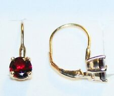 2.19ctw Genuine Garnet Gemstone Leverback Earrings 14K Yellow Gold over 925 SS