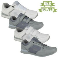 DEK Men's Women's White Grey LAWN BOWLS TRAINERS Indoor Outdoor Bowling Shoes