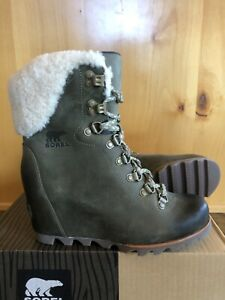 Sorel CONQUEST Fur WEDGE BOOTS 8 Army Green Ankle Rain Lace Up Rare BRAND NEW!