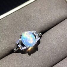 Real Natural Opal Gemstone 925 Sterling Silver Ring Romantic Anniversary Wedding