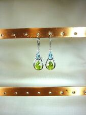 2.84 ct Natural Peridot & Blue Topaz Solid Sterling Silver Leverback Earrings
