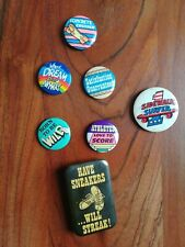 Lot Of 7 Vintage Pins Buttons Skateboarding Streaking 1970' & 1980's