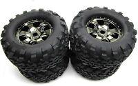 Savage X 4.6 TIRES & WHEELS (4) Black Chrome tyres 17mm hex HPI 109083