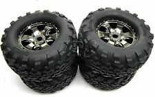 Savage X 4.6 TIRES & WHEELS (4) Black Chrome tyres 17mm hex HPI 109083